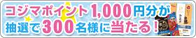 コジマポイント1,000円分が抽選で300名様に当たる