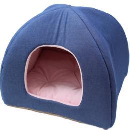 デニム三角ドームベッド ピンク