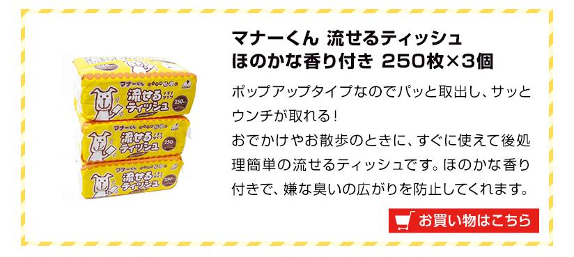 マナーくん 流せるティッシュほのかな香り付き 250枚×3個