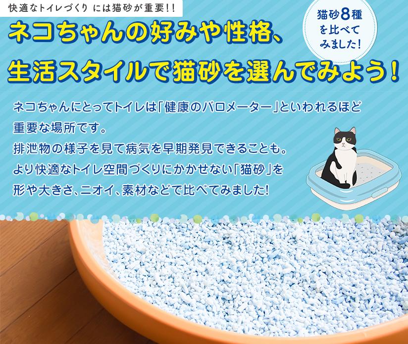 ネコちゃんの好みや性格、生活スタイルで猫砂を選んでみよう!