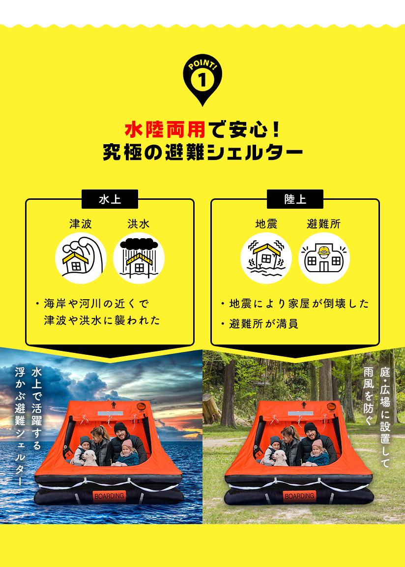 ①水陸両用で安心!究極の避難シェルター