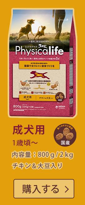 Physicalife(フィジカライフ) 成犬用 1歳頃~ チキン&大豆入り 800g/2kg